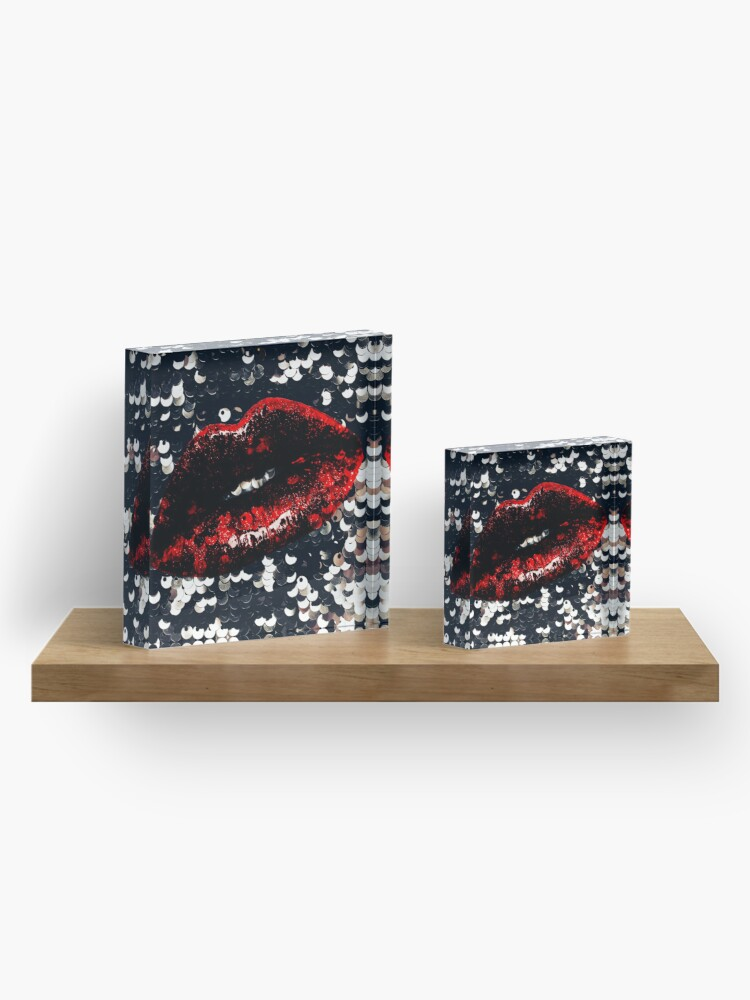 Alternate view of Red Lips and Sequins Acrylic Block
