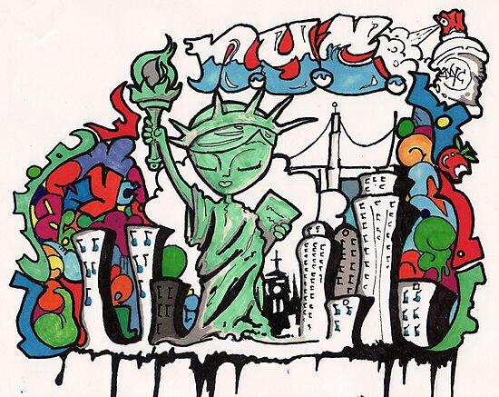 graffiti statue of liberty by mojittto