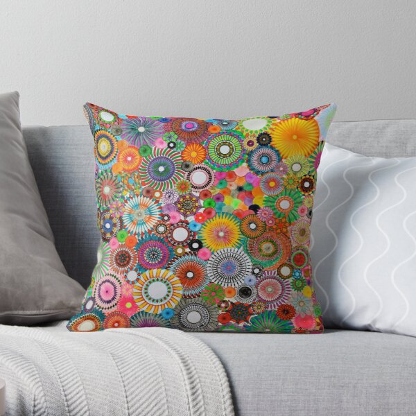 Childhood Dreams, a colourful spirograph drawing! Throw Pillow