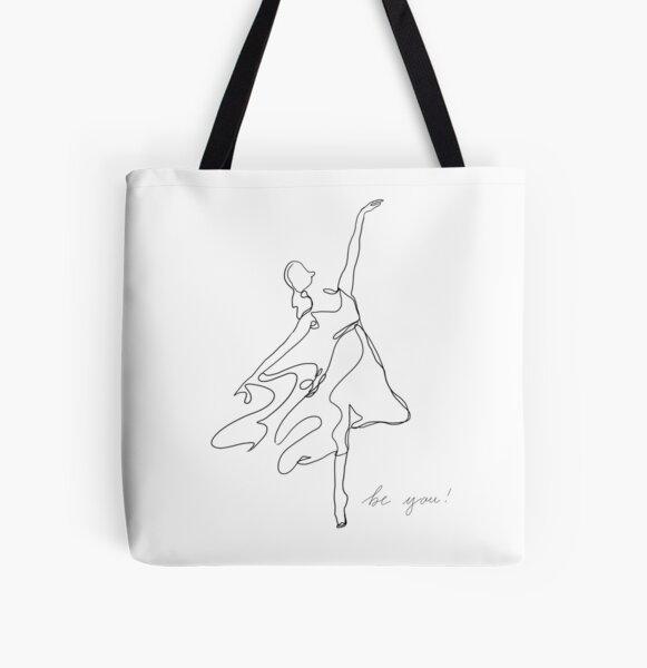 Tänzerin in One line art  Allover-Print Tote Bag
