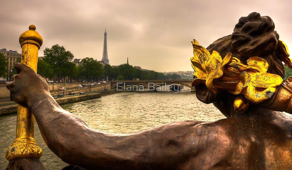 Back view of the angel from the Ponte Alexandre in Paris by Elana Bailey