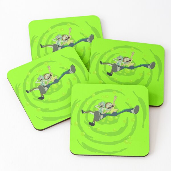 Rick and Morty™ dropping into green vat of acid Coasters (Set of 4)