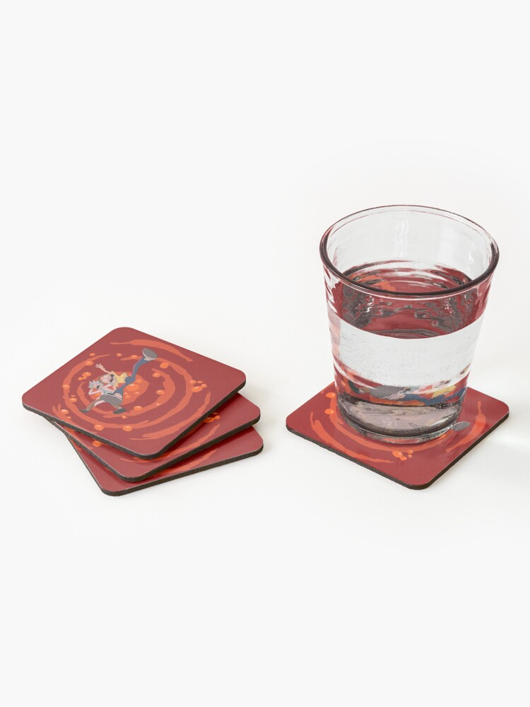 Alternate view of Rick and Morty™ dropping into red vat of acid Coasters (Set of 4)