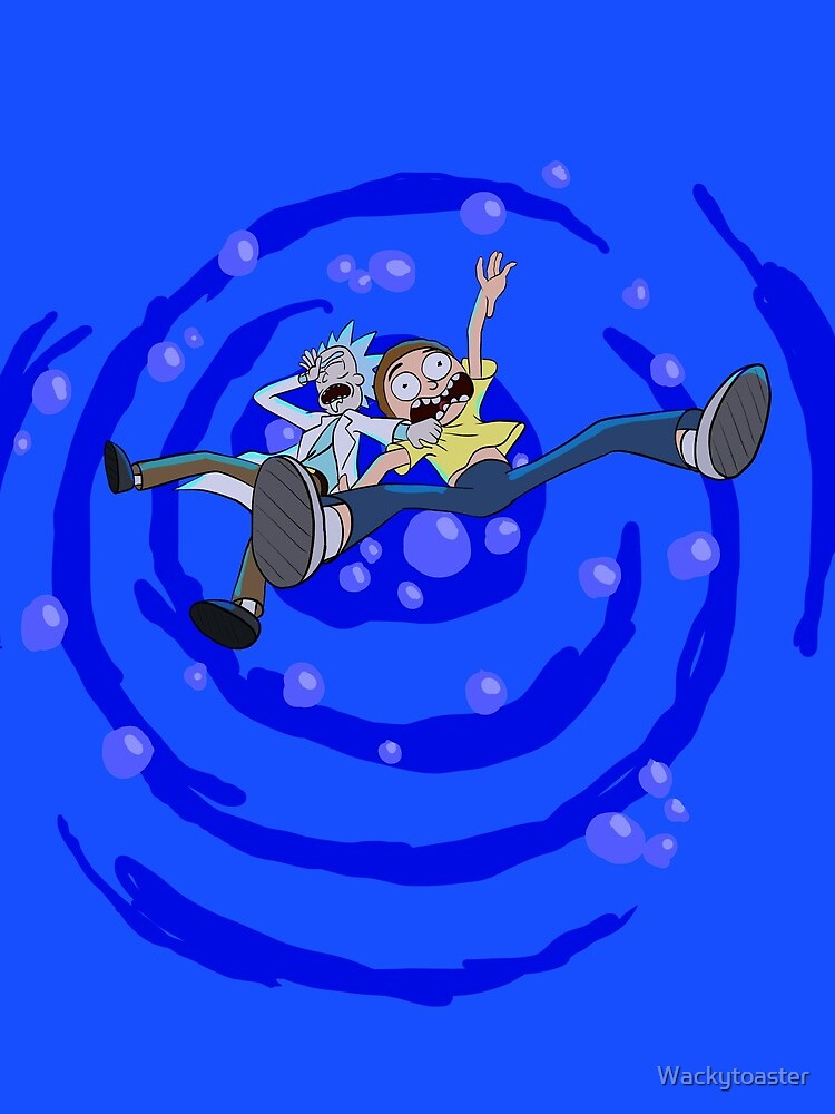 Rick and Morty™ dropping into blue vat of acid by Wackytoaster