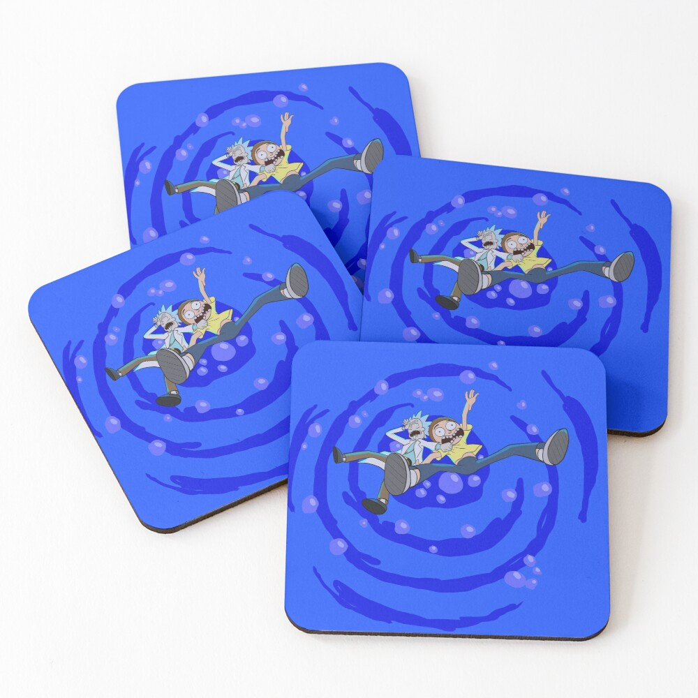 Rick and Morty™ dropping into blue vat of acid Coasters (Set of 4)