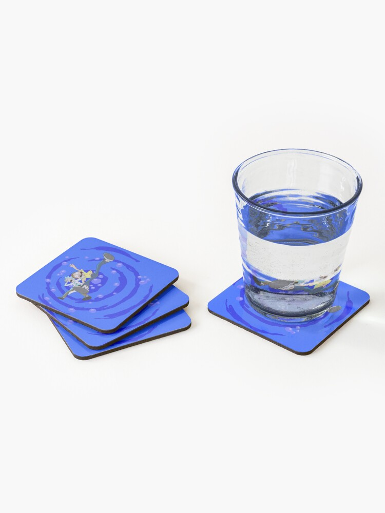 Alternate view of Rick and Morty™ dropping into blue vat of acid Coasters (Set of 4)
