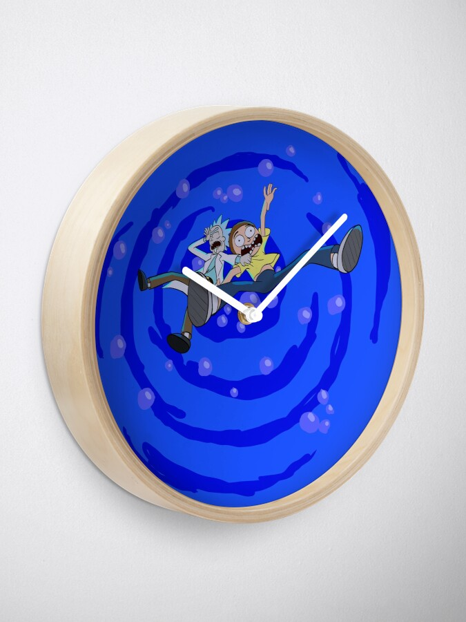 Alternate view of Rick and Morty™ dropping into blue vat of acid Clock
