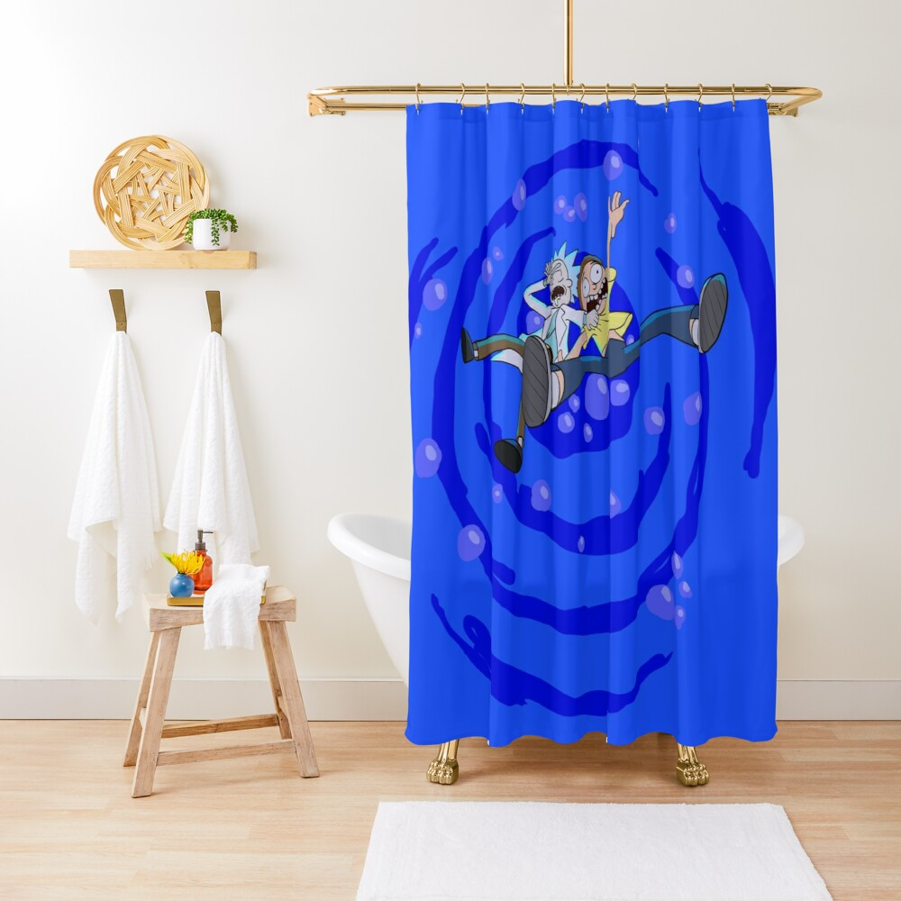 Rick and Morty™ dropping into blue vat of acid Shower Curtain