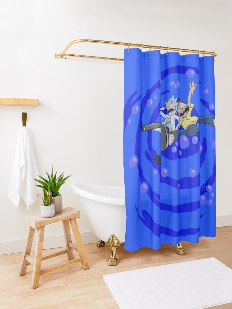 Alternate view of Rick and Morty™ dropping into blue vat of acid Shower Curtain