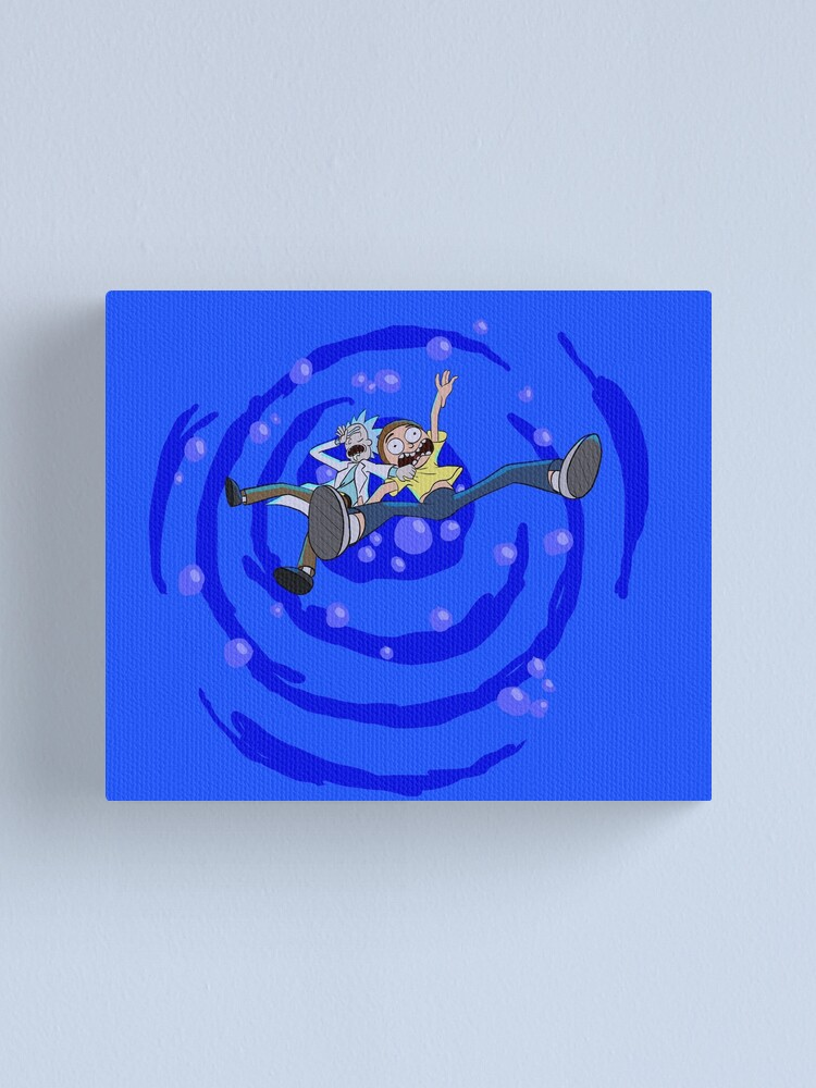 Alternate view of Rick and Morty™ dropping into blue vat of acid Canvas Print