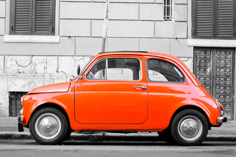 orange fiat 500 in rome italy by wildrain redbubble. Black Bedroom Furniture Sets. Home Design Ideas