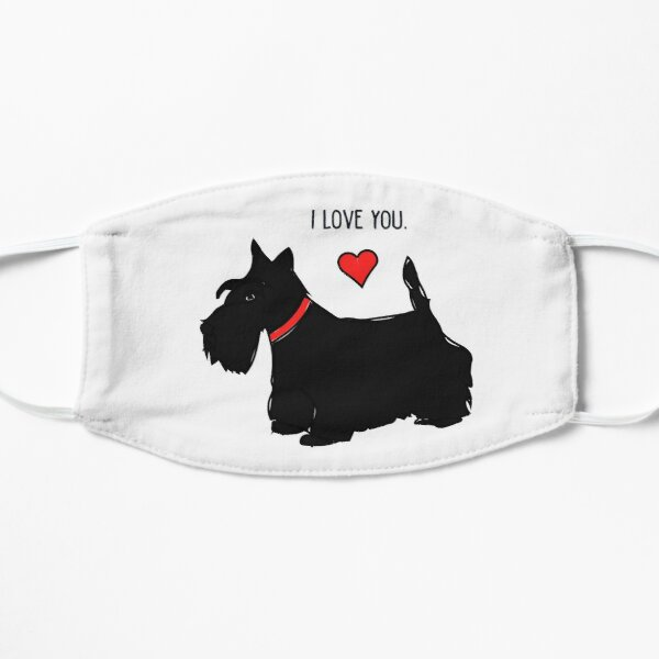 I love you - Scottie dog (red heart) Flat Mask