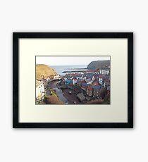 Higgledy piggledy houses, Staithes Framed Print