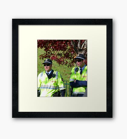 Boys in Blue (and Fluoro green) Framed Print