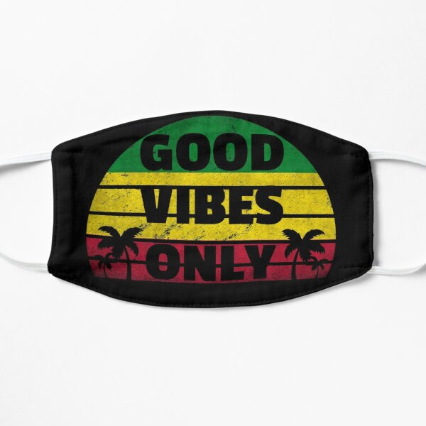 Good Vibes Only Rasta Jamaican Flag Reggae Masque sans plis