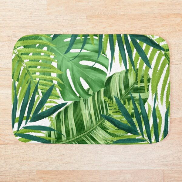 Tropical leaves III Bath Mat