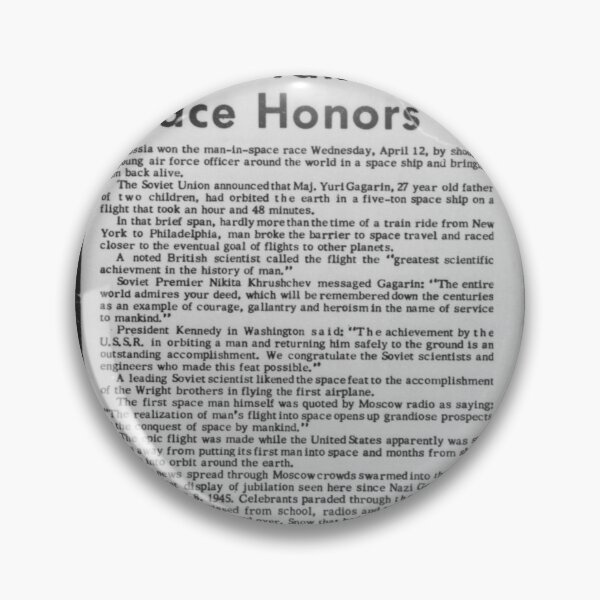 Old Historical Newspaper. Russia Takes Space Honors. Newsprint Pin