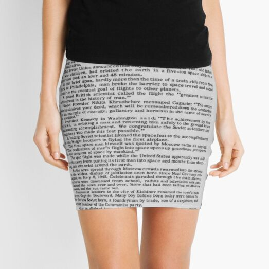 Old Historical Newspaper. Russia Takes Space Honors. Newsprint Mini Skirt