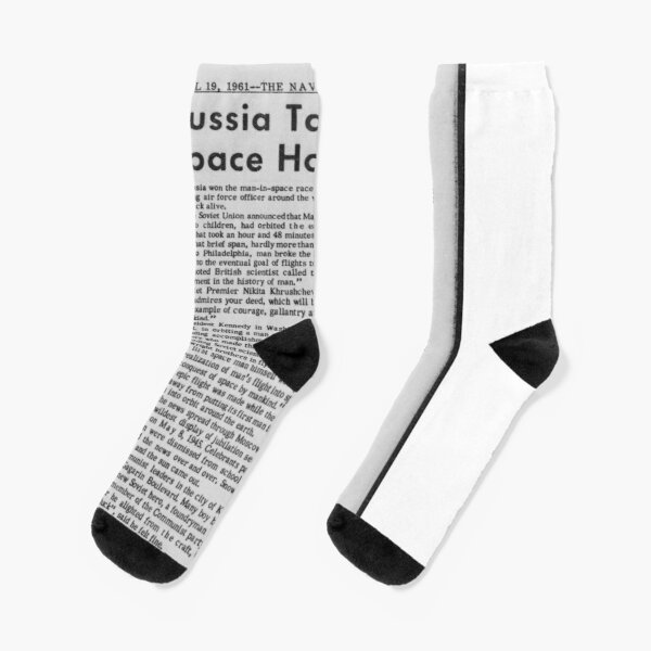 Old Historical Newspaper. Russia Takes Space Honors. Newsprint Socks