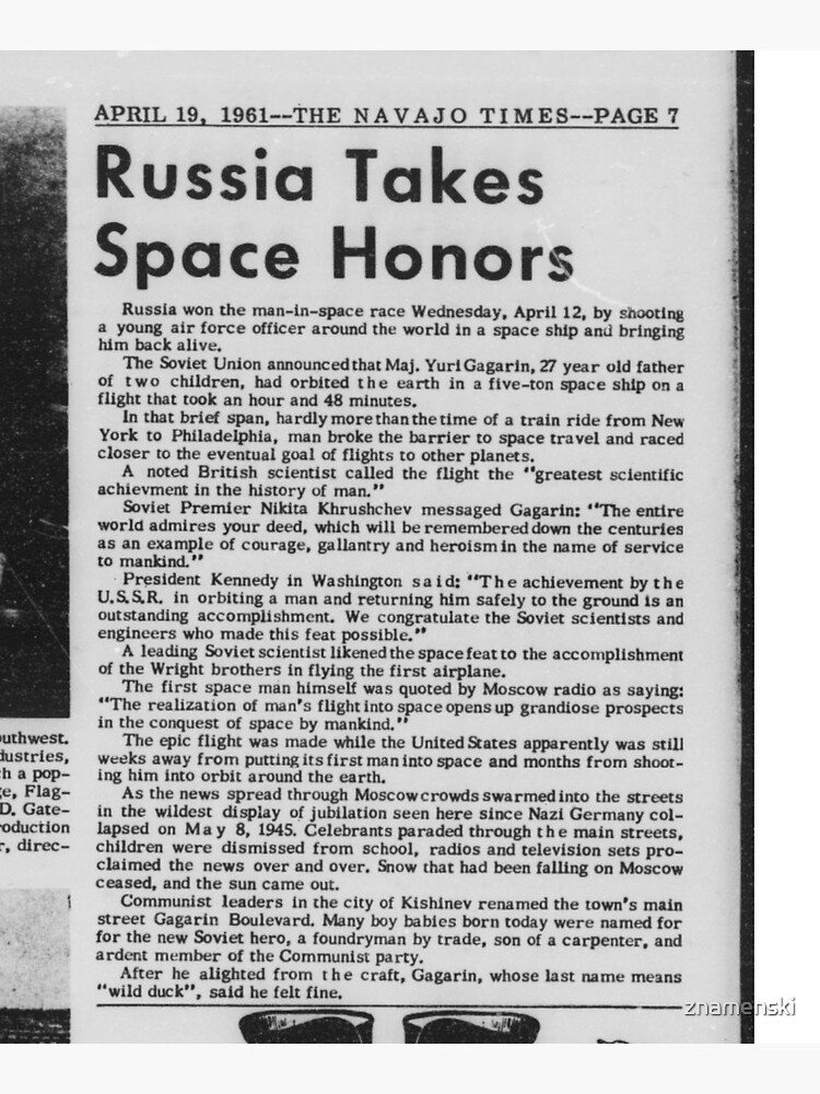 Old Historical Newspaper. Russia Takes Space Honors. Newsprint by znamenski