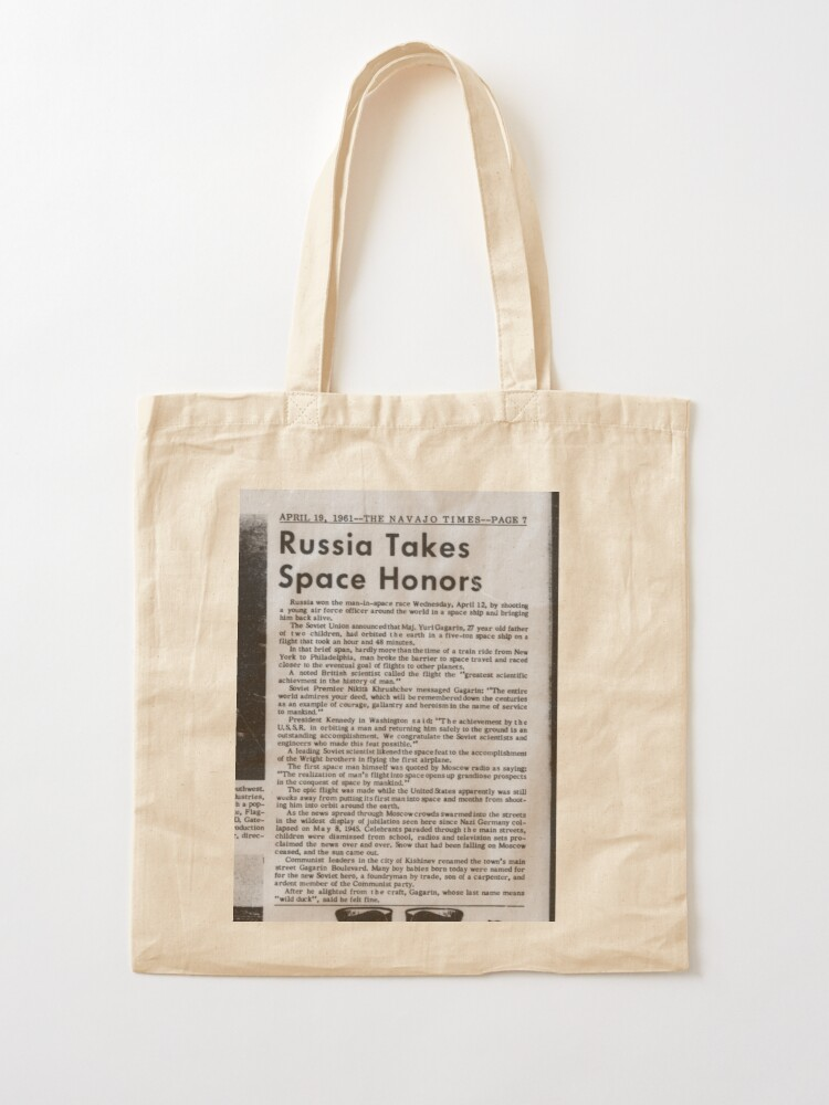 Alternate view of Old Historical Newspaper. Russia Takes Space Honors. Newsprint Tote Bag