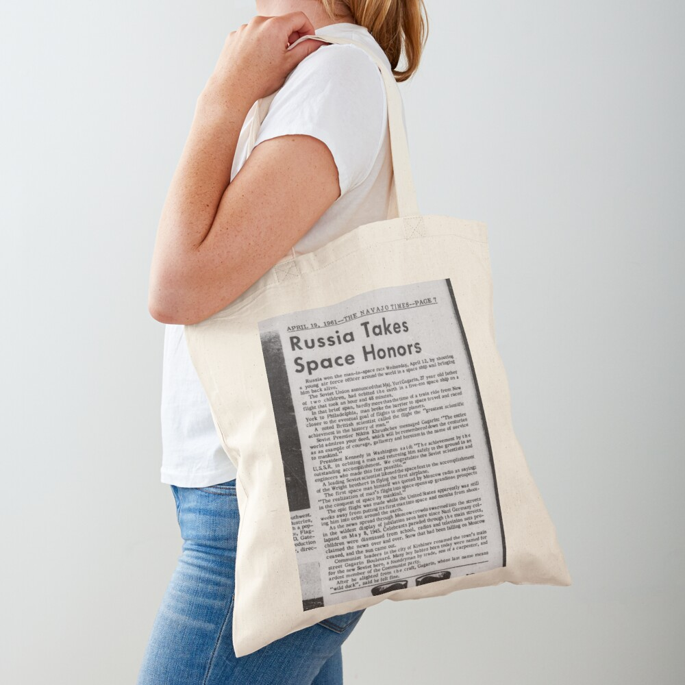 Old Historical Newspaper. Russia Takes Space Honors. Newsprint Tote Bag