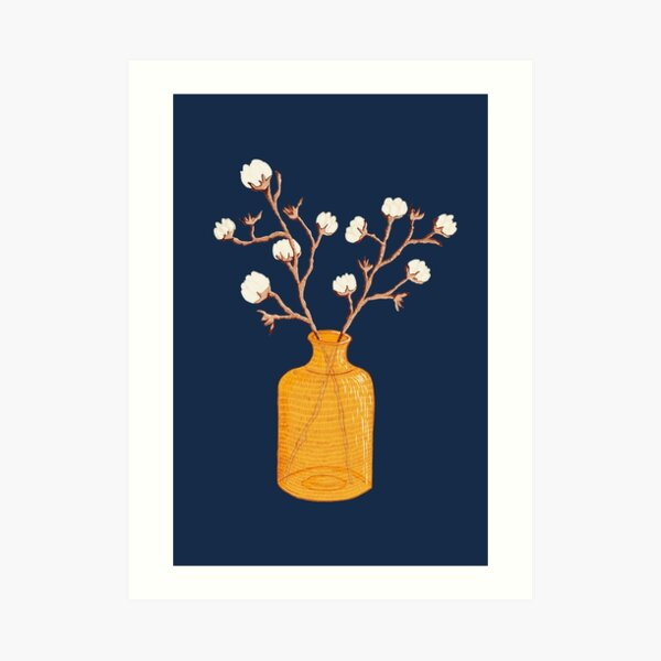 Still life - Cotton branches in a ochre vase Art Print