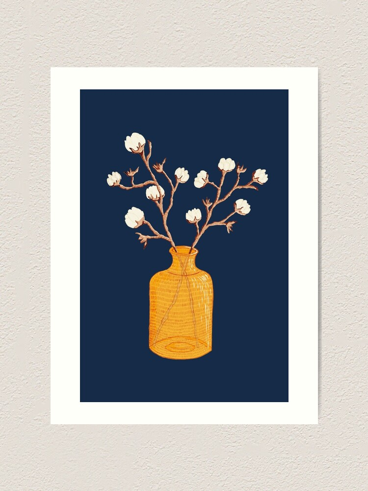 Alternate view of Still life - Cotton branches in a ochre vase Art Print