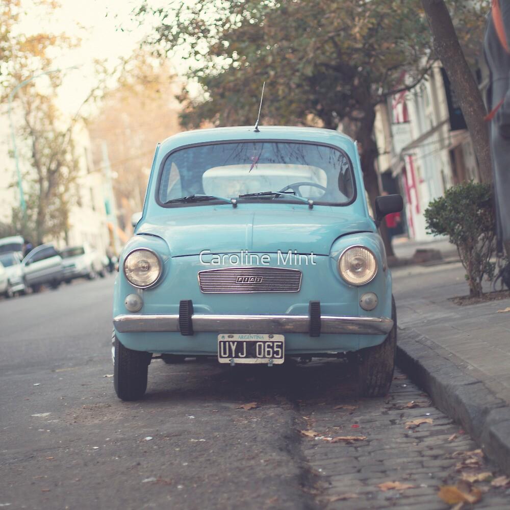 Mint - Blue Retro Fiat Car  by Caroline Mint