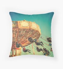 Vintage Chain Swing Ride on Blues Sky Throw Pillow