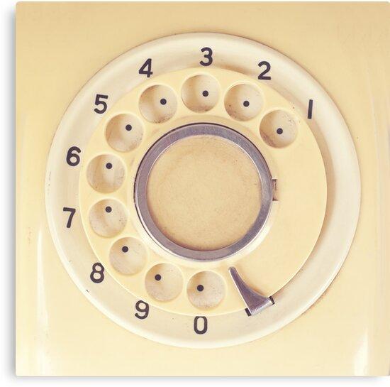 Yellow Retro Telephone  by Caroline Mint