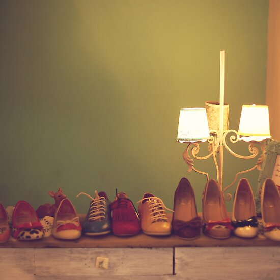 Dancing Shoes and Heels (retro and vintage girly shoes and heels with a lovely lamp) by Caroline Mint
