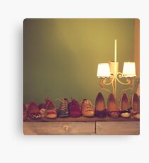 Dancing Shoes and Heels (retro and vintage girly shoes and heels with a lovely lamp) Canvas Print