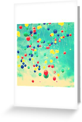 Let your wishes fly (Colour balloons in vintage - retro turquoise sky) by Caroline Mint