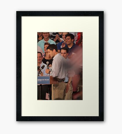 Paul Ryan wafts one to the crowd Framed Print