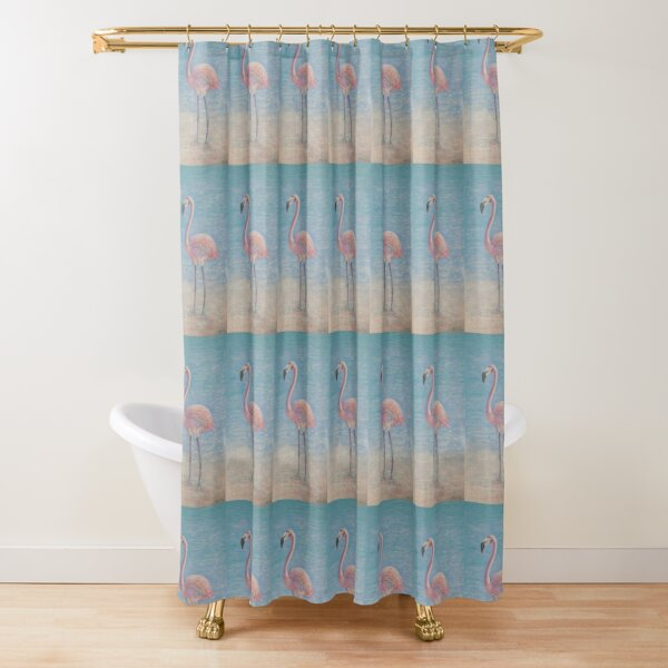 Lone Flamingo  Shower Curtain
