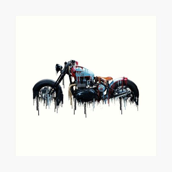 Awesome Triumph Bobber Liquid Metal Art Art Print