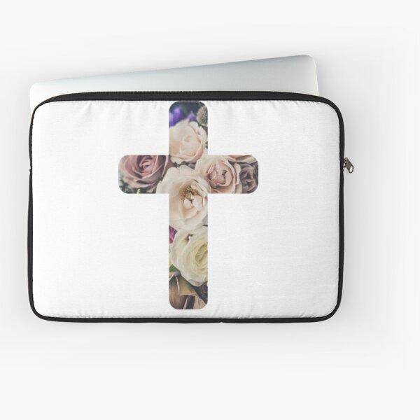 Floral Christian Cross Laptop Sleeve