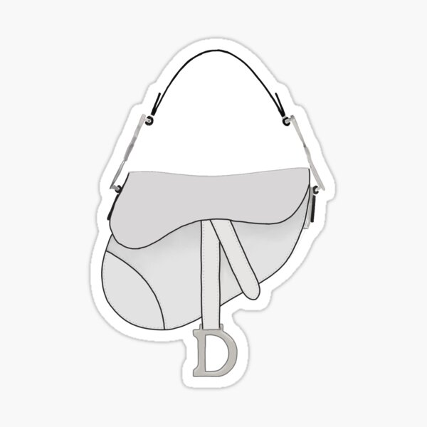 Dior Saddle Bag White Grey Drawing Sticker