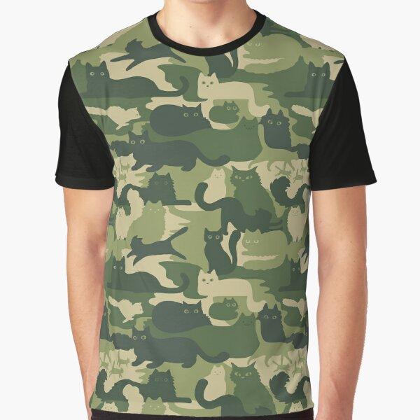Tarnmuster mit Katzen   Grüne Katze Camo Grafik T-Shirt