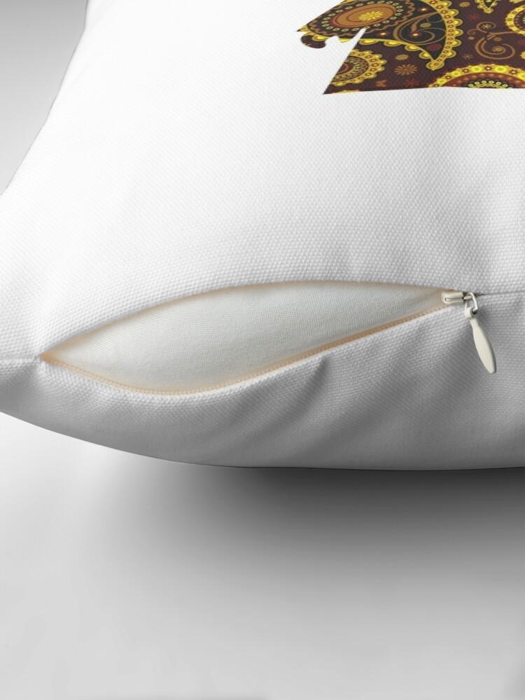Alternate view of Teardrop Mandala Silhouette - Alien Forest -  White Background Throw Pillow