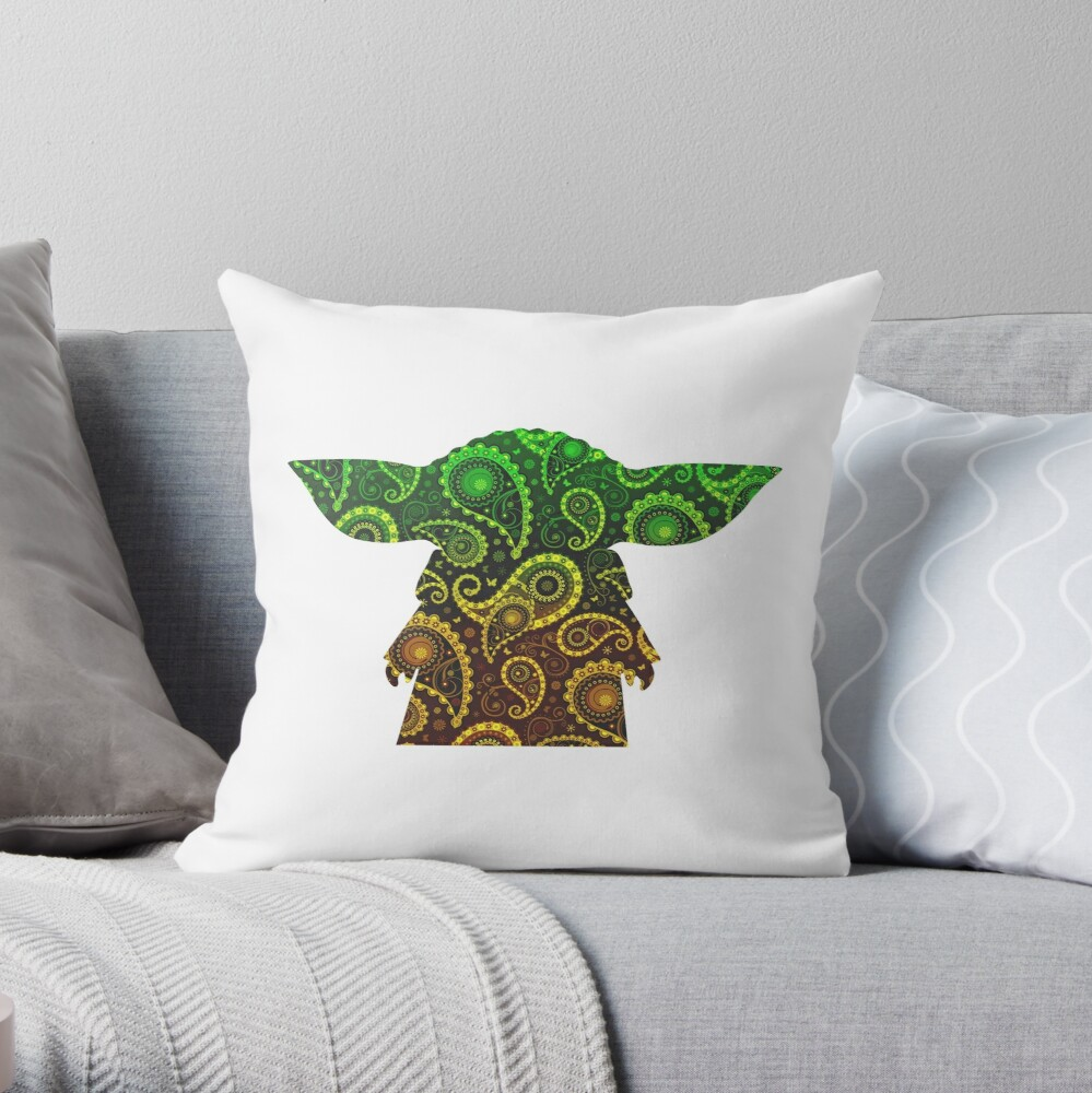 Teardrop Mandala Silhouette - Alien Forest -  White Background Throw Pillow