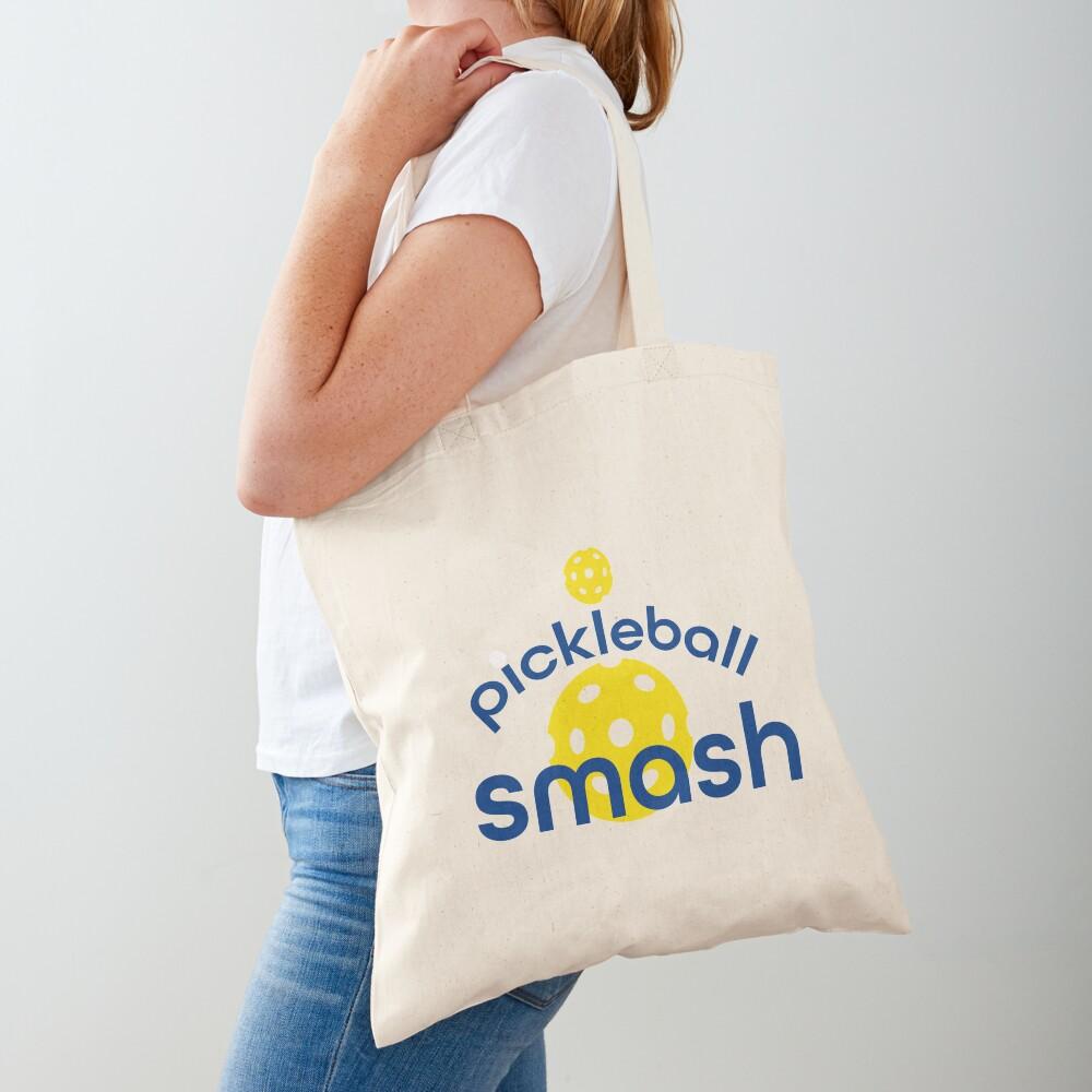 Funny Yellow Pickleball Smash Tote Bag