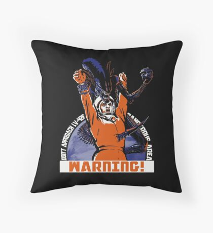 Warning. Throw Pillow