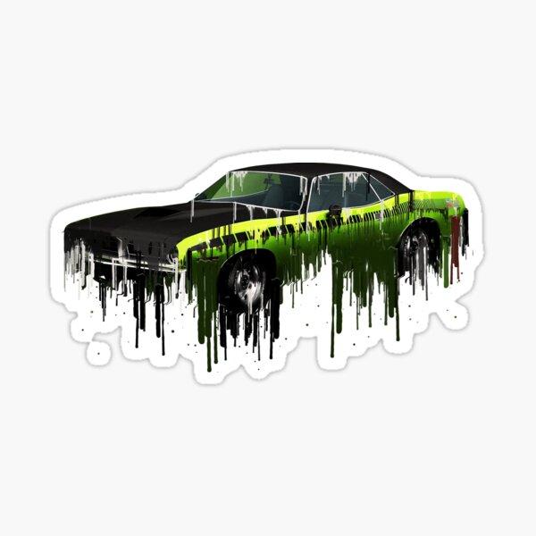 Awesome Plymouth Cuda Liquid Metal Art Sticker