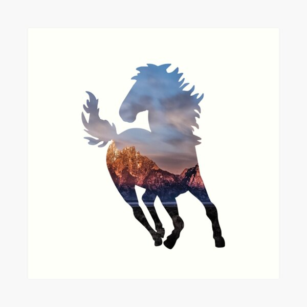 Wild Mustang Horse and Rocky Mountains Silhouette  Art Print