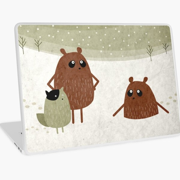 bears and squirrel in the snow Laptop Skin