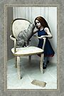 Little Girl and Cat on a chair by Roberta Angiolani