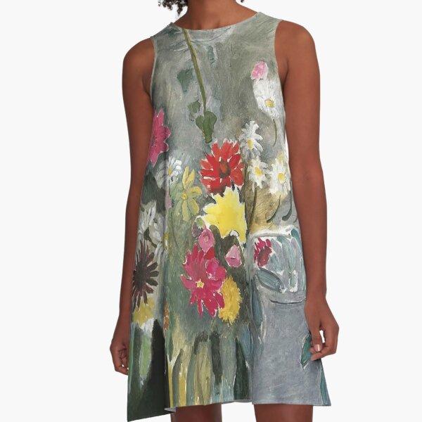 Henri Matisse   Blumenstrauß aus gemischten Blumen A-Linien Kleid