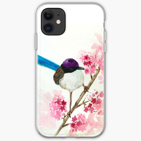 Watercolor Purple Fairy Wren iPhone Soft Case